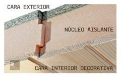 Detalle de estructura panel sandwich madera para cubierta y tejado. www.panelestudio.com