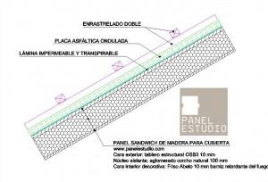 Detalle de placa asfáltica ondulada, enrastrelado doble y lámina impermeable www.panelestudio.com .