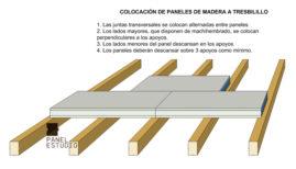 Colocación de paneles de madera sobre cubierta a tresbolillo. panelestudio.com.