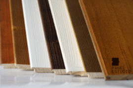 Ejemplos de teñidos de frisos de madera de los paneles para cubiertas.