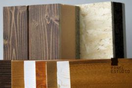 Gama básica de tonos y colores de frisos de paneles de madera.