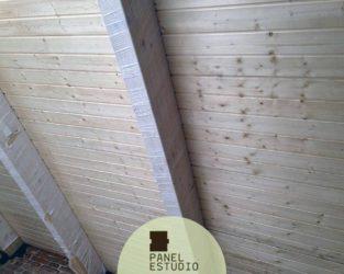 Panel de abeto de 10 mm sin barnizar para bioconstrucción.