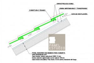 Detalle teja SIN beata enrastrelado doble y lámina impermeable www.panelestudio.com .