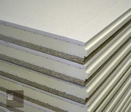 Panel de madera acabado cartón yeso (PYL, placa de yeso laminado). Núcleo aislante XPS.