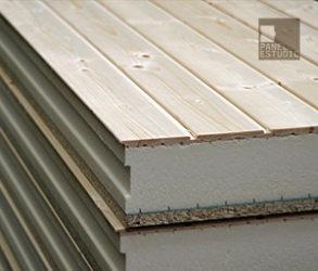 Panel de madera acabado friso abeto sin barniz. Núcleo aislante XPS.