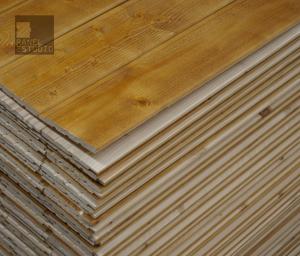 Panel de madera acabado teñido roble francés. Núcleo aislante XPS.