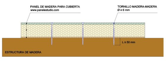 Tornillos para fijar panel de cubierta sobre estructura madera. www.panelestudio.com .jpg