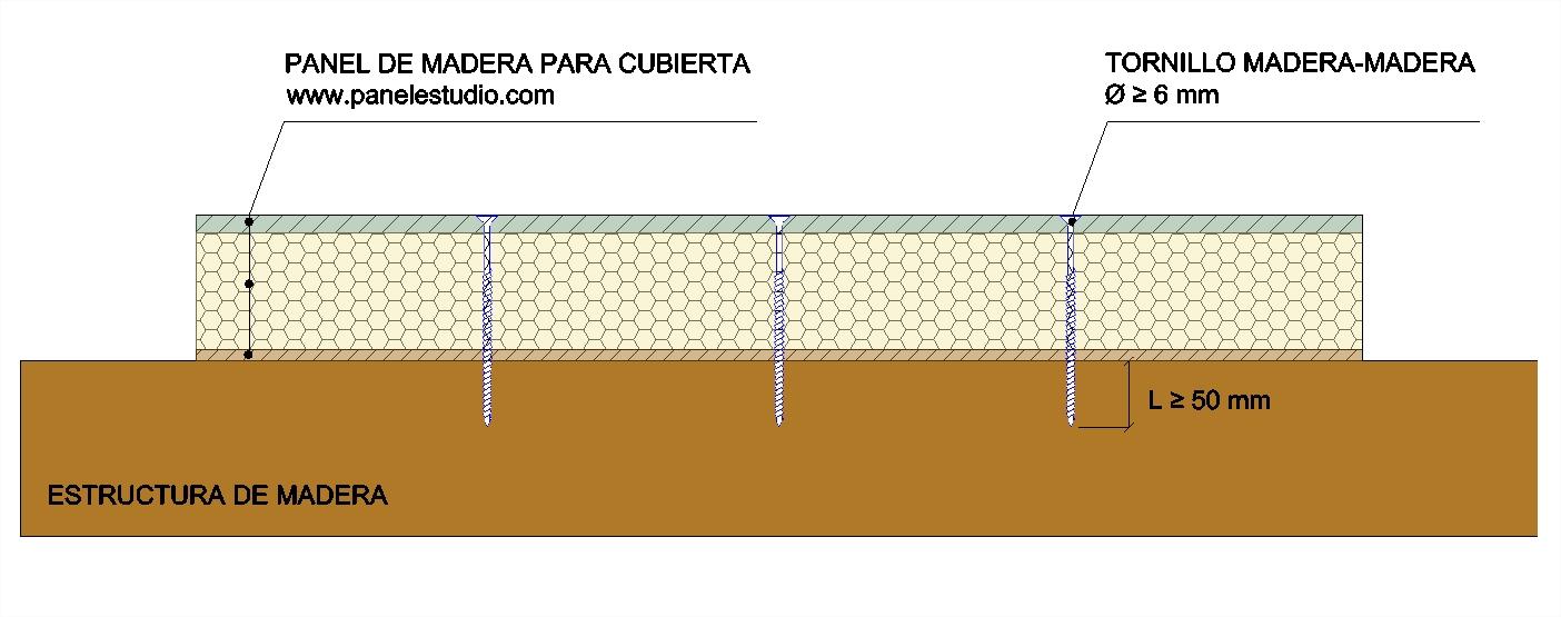 Tornillos para fijar panel de cubierta sobre estructura madera. www.panelestudio.com