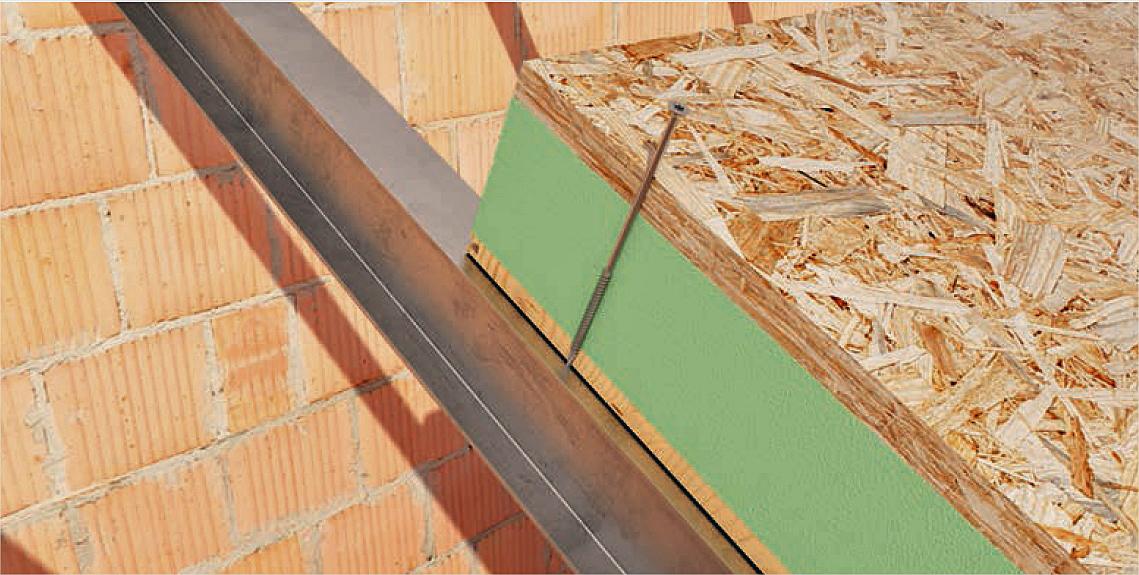 Tornillos, lámina y cinta para paneles de cubierta.