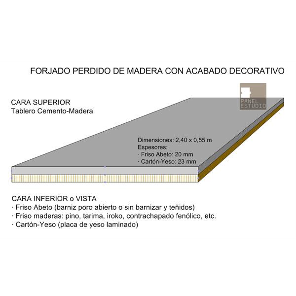 Panel de madera BICAPA para forjado perdido de madera con acabado decorativo.