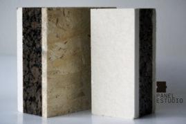 Panel recomendado para bioconstrucción con núcleo de corcho natural. Acabado decorativo OSB 3 y Cartón Yeso (Pladur, Knauf o similar).