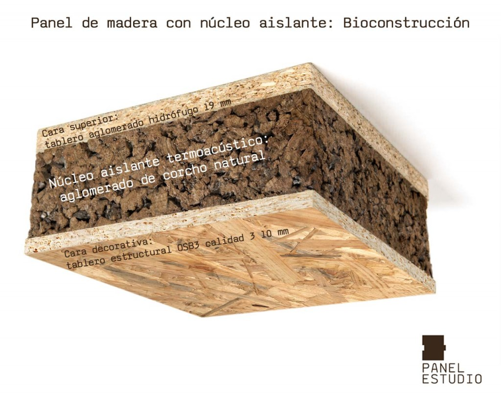 Bioconstrucción y corcho natural. Panel de madera con núcleo aislante termoacústico de aglomerado de corcho natural. Acabado decorativo OSB3.