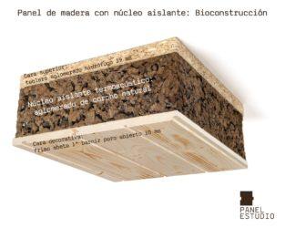 Bioconstrucción y corcho natural. Panel de madera con núcleo aislante termoacústico de aglomerado de corcho natural. Acabado decorativo friso abeto primera plus.