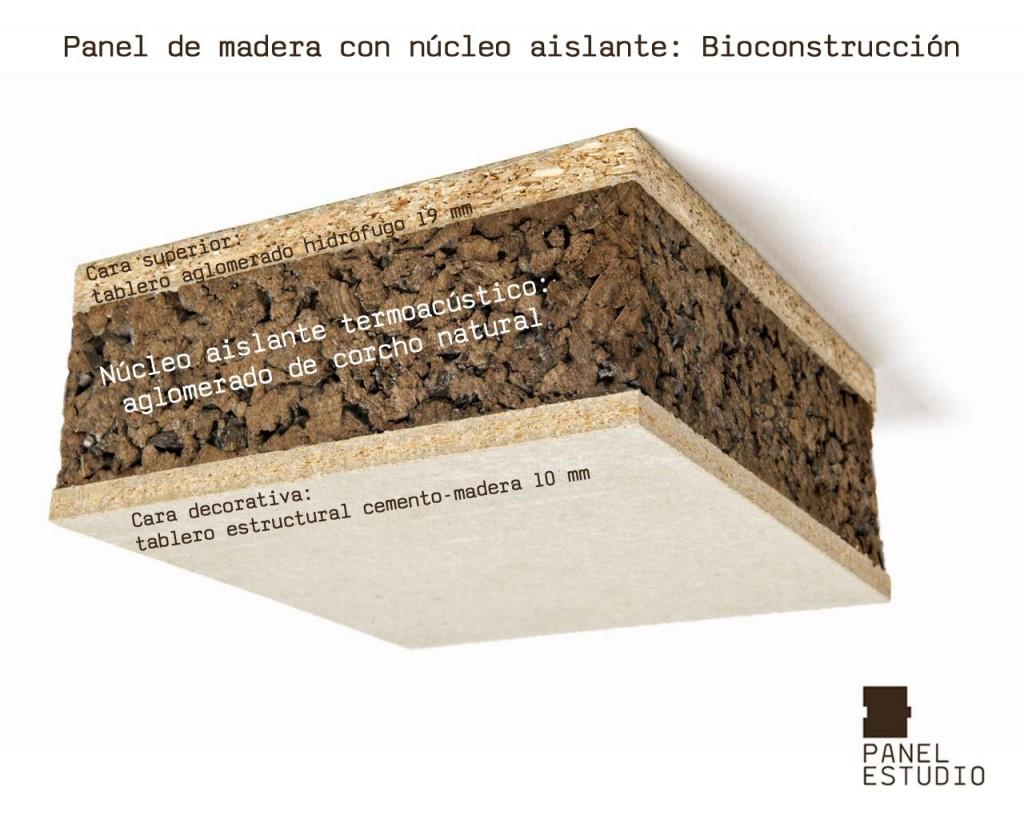 Bioconstrucción y corcho natural. Panel de madera con núcleo aislante termoacústico de aglomerado de corcho natural. Acabado decorativo tablero estructural cemento madera.