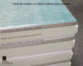Estructura de panel de madera para cubierta con núcleo aislante XPS, cara decorativa cartón yeso PYL knauf y tablero superior de aglomerado hidrófugo 19 mm.