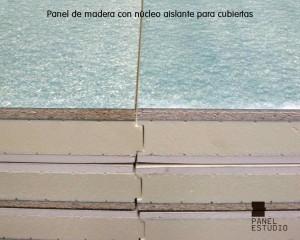 Panel de madera para cubiertas con núcleo aislante, Acabado decorativo cartón yeso PYL Knauf y tablero superior de aglomerado hidrófugo 19 mm.