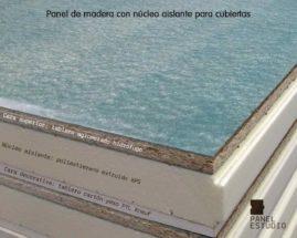 Panel de madera para tejados con núcleo aislante y tablero superior de aglomerado hidrófugo 19 mm.