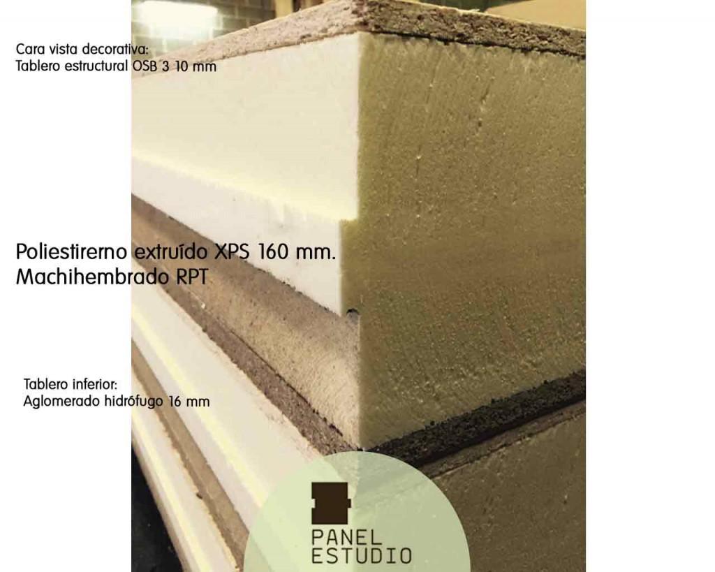Panel con aislamiento térmico de XPS 160 mm y OSB 3 .