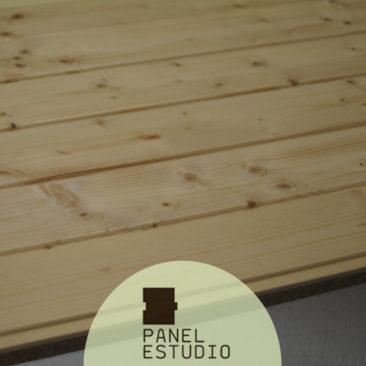 Acabado friso abeto de panel entreplanta Madrid.